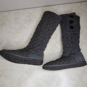 UGG Lattice Cardy Knit Boots Size 9 Dark Gray